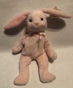 "Ty Beanie Babies ""HOPPITY"" the Pink EASTER Bunny Rabbit DOB: 4/3/96 #4117"