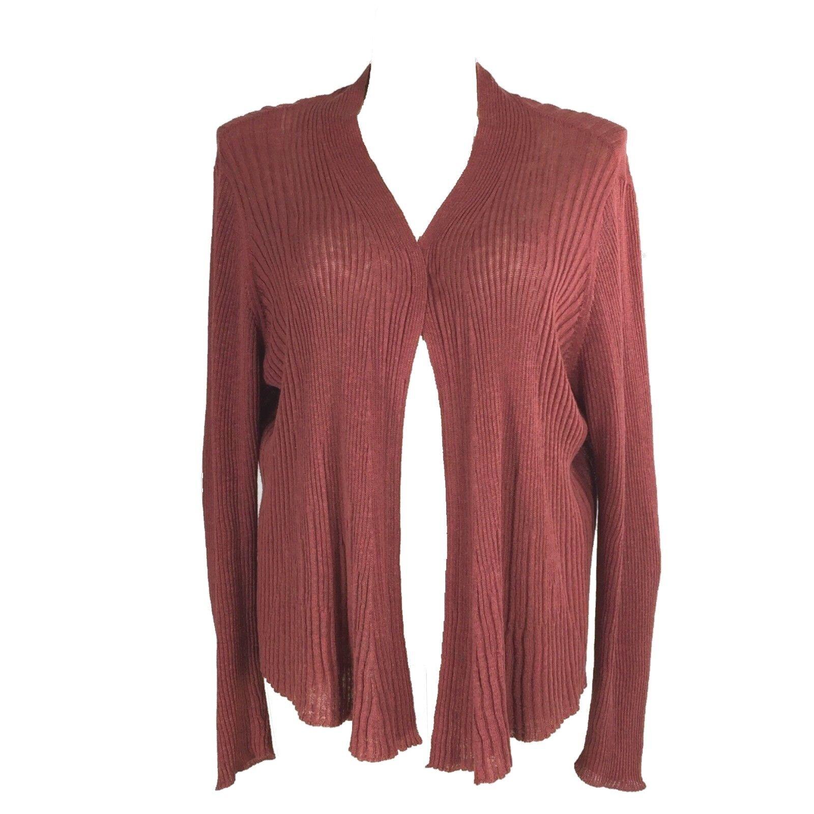 Eileen Fisher Plus 3X Cardigan Knit Sweater Long Open Drape Burnt Red Linen LN