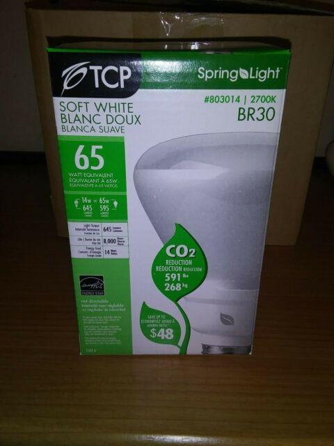 2x 14W BR30 2700K E26 Reflector Floodlight Bulb 65W Equal CFL TCP 803014