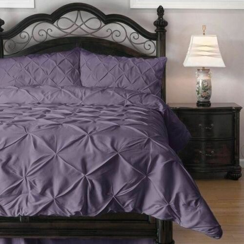 Full Queen Cal King Bed Solid Purple Pintuck Pleat 3 pc Comforter Set Bedding