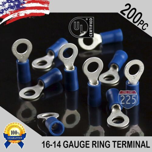200 PACK 16-14 Gauge #10 Stud Insulated Vinyl Ring Terminals Tin Copper Core US