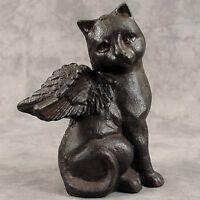 Winged Cat Angel Cast Iron Statue Memorial Marker