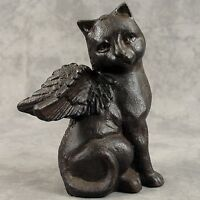 Winged Cat Angel Cast Iron Statue Memorial Marker