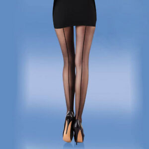 308266c2d63 2x pairs Seamed Smooth Knit Seamer Tights Silky M Black or Natural ...