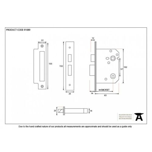 black plates 91089 2 1//2 inch 57mm centre From the Anvil Bathroom Mortice lock