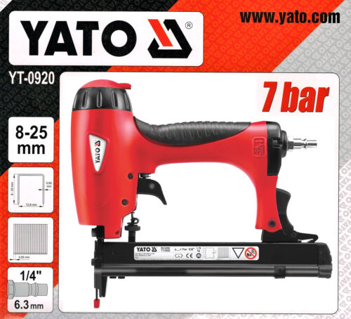 Druckluftnagler Drucklufttacker 8-25mm 7bar Druckluft Streifennagler Tacker Yato