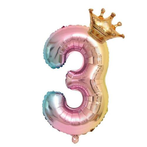 """32/"""" Globos De Papel De Aluminio Número de corona dígitos Aire Globos Niños Cumpleaños Fiesta Decoraciones"""