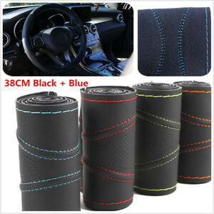 Real-Color-Leather-DIY-Car-Steering-Wheel-Cover-Auto-SUV-Universal-38cm-Blue-BLK