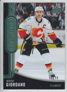 2014-15-UD-OVERTIME-MARK-GIORDANO-GREEN-58-99-PARALLEL-128-Upper-Deck-Flames