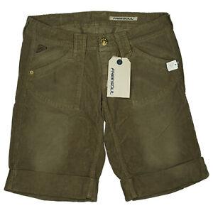 FREESOUL-Damen-Sommer-Cord-Jeans-Hose-Short-Bermuda-Capri-W29-army-gruen-NEU
