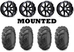 Kit 4 Maxxis Zilla Tires 28x9-14/28x11-14 on MSA M12 Diesel Black Wheels POL