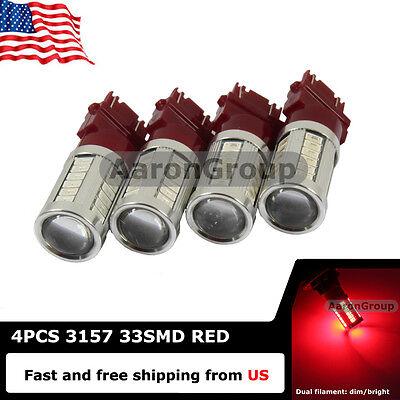4x Red 3157 3057 3457 4157 High Power 5730 33SMD LED Bulbs - Brake Tail Light