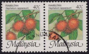 MALAYSIA-1986-Rambutan-40c-pair-P12-USED-H011