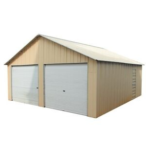 Double-Garage-6-6m-x-7-2m-x-3-7mm-Widespan-Roller-Door-Shed-Cream-or-Rivergum