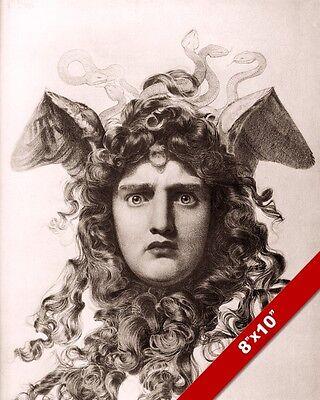 HEAD OF MEDUSA GREEK MYTHOLOGY PAINTING ART REAL CANVAS PRINT