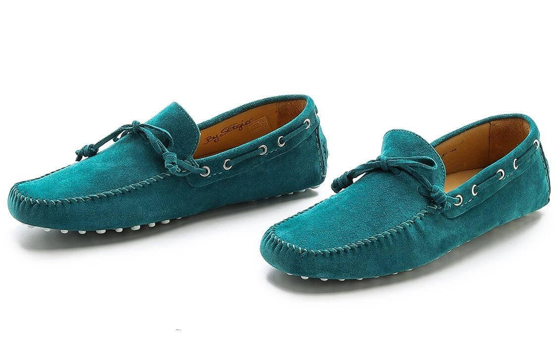 MR HARE 'Sergio' Green-bluee Suede Leather Driving Drivers Loafers shoes 7   40.5