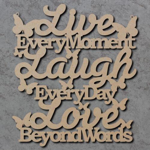 Vivre l'amour rire SIGNE-en bois découpées au laser mdf Craft SIGNE-Blanc-Formes