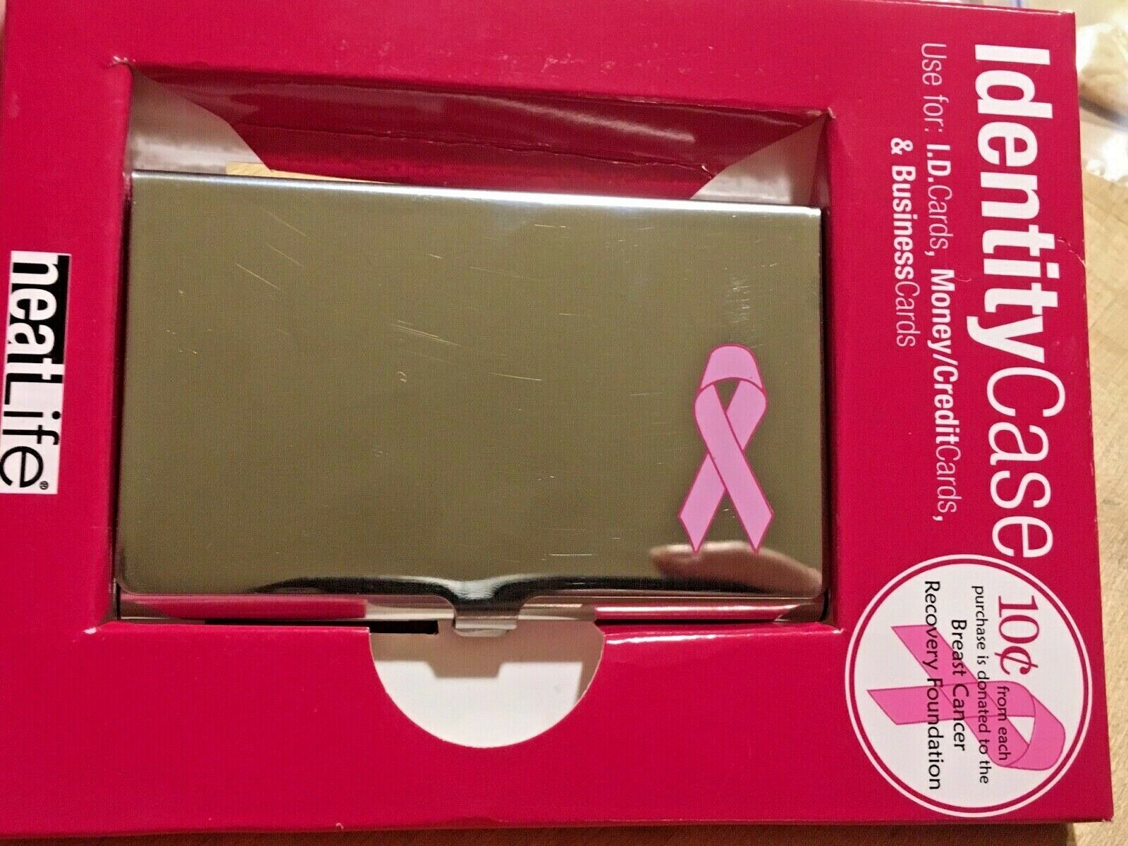 Breast Cancer Identity Case Business Card Holder ID Money Credit Card Silver