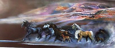 "/""Alarmed/"" featuring Wild Mustangs by Carole Bourdo S/&N Ltd Edition 16x34 Print"