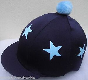 Riding-Hat-Silk-Skull-cap-Cover-NAVY-BABY-BLUE-STARS-With-OR-w-o-Pompom