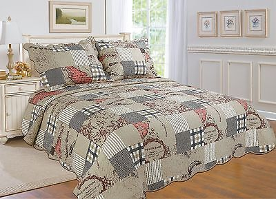 56 Bedspread And Coverlet-4 Sizes Available-beige All For You 3pc Quilt Set
