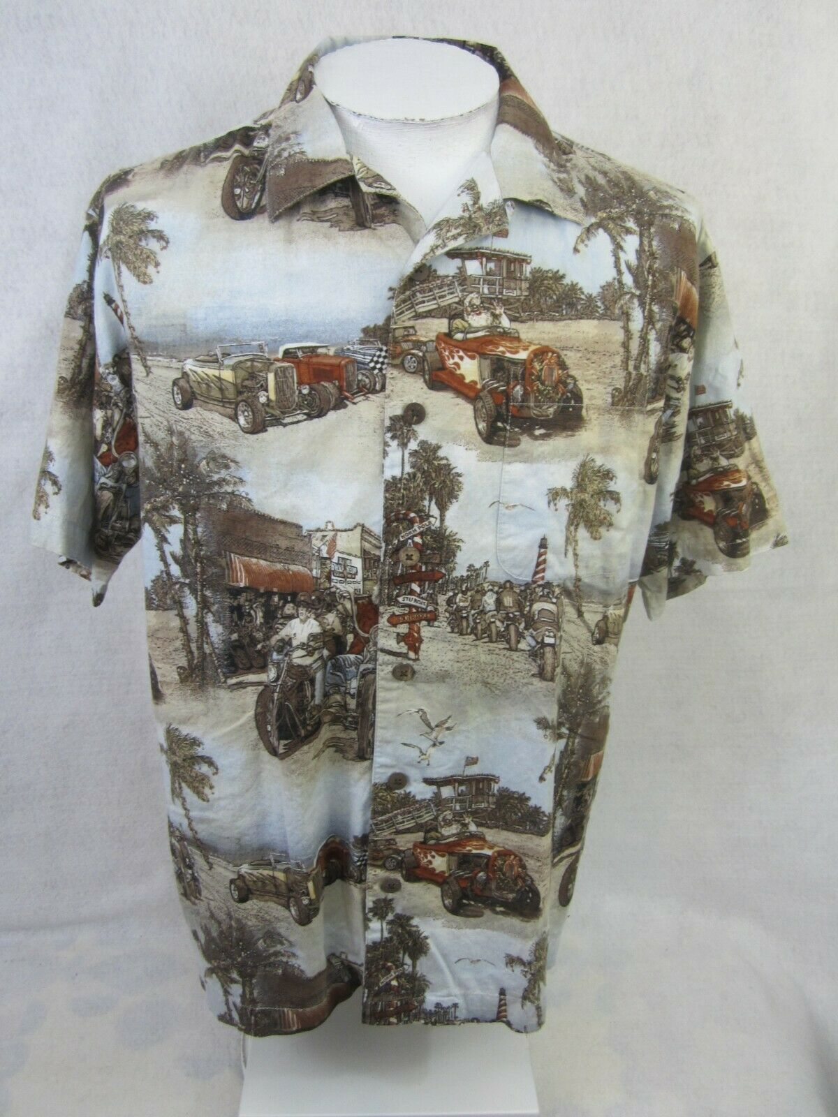 66ebedc9cbbb3b WINDHAM POINTE Men Hawaiian Christmas shirt p2p 24.5 L Beach motorcycle  Santa nzarlb8431-Casual Shirts   Tops