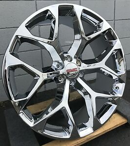 22 Inch Gmc Sierra Snowflake Wheels Chrome Tahoe Suburban