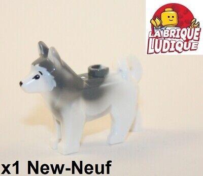 2x White Gray Husky Sled Dog w// Fish Plate Animal Minifigure Wolf Arctic LEGO
