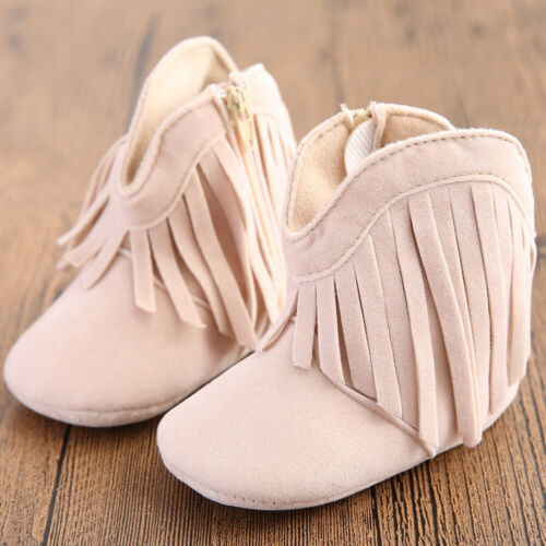 Newborn Baby Boy Crib Infant Toddler Girl Fringe Moccasins Soft Sole Shoes Shoe
