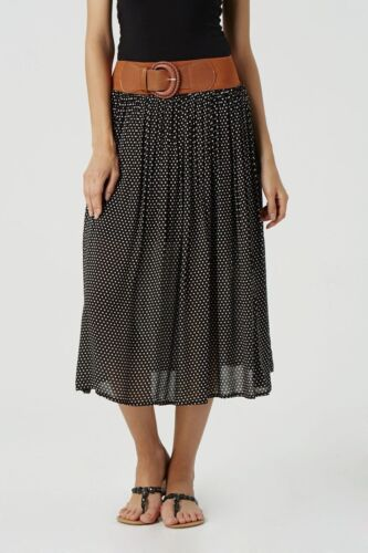 or 16 NEW Izabel London Black Polka Dot Midi skirt with a belt Sizes 8