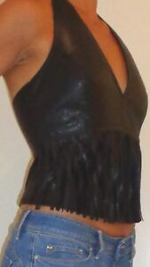 Top-dos-nu-simili-cuir-noir-avec-franges-devant-Col-V-taille-40