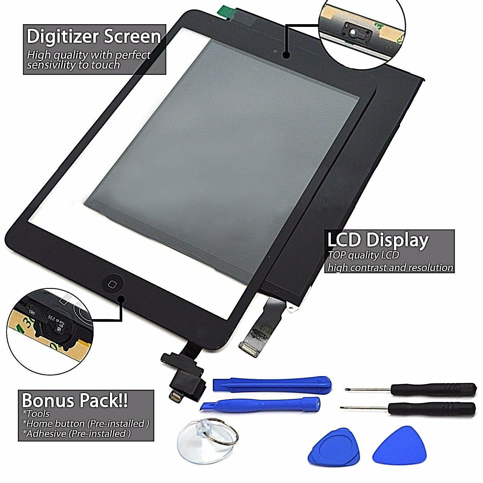 LOT OF 3 TOUCH SCREEN DIGITIZER REPLACEMENT FOR APPLE IPAD 2 BLACK A1395 A1396