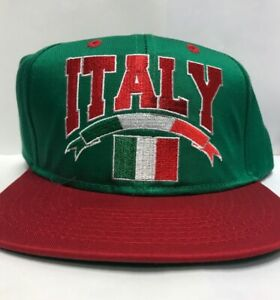 3ac4389ebbff26 World Cup Soccer Italia Italy Flag Spell Out Snapback Hat Red/Green ...