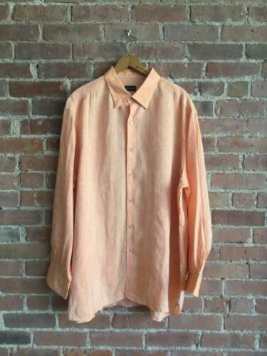 ERMENEGILDO ZEGNA 100% Linen Shirt , Orange, Men's
