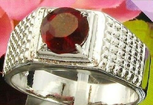 RING PLATE 18K WHITE GOLD RUBY SYNTHETIC 7 MM . T 63