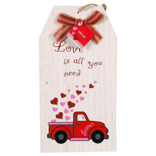 """Vintage Red Truck With a Load of Hearts blowing in the wind Luggage Tag Sign14/"""""""