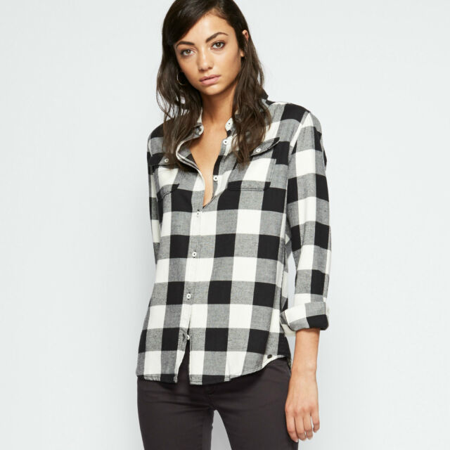 a83e436e ANIMAL WOMENS CHECKED SHIRT.THALIA BLACK/WHITE CHECK COTTON SHIRT TOP 7W  371 H60