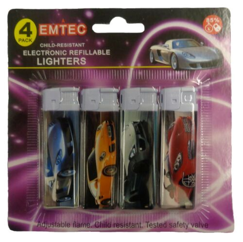 12 X EMTEC Refillable Electronic with Adjustable Flame Lighter Child Safety UK
