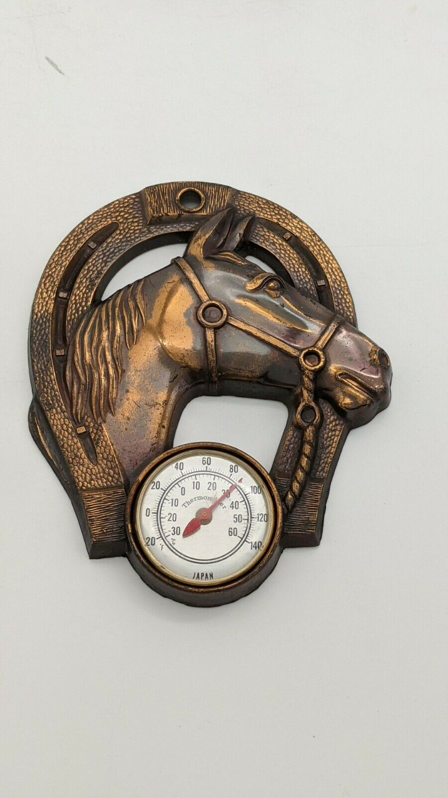 Lucky Horseshoe Thermometer Copper Color Made in Japan 3