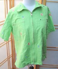 SZ. L QUACKER FACTORY~ bright green fish embroidered zip up blouse top