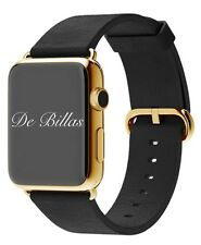 42MM Apple Watch 24K Gold Plated W/Black Leather Classic Buckle