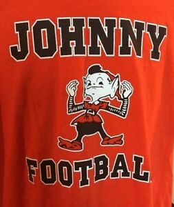 0cf43391 Details about JOHNNY FOOTBALL Cleveland BROWNS Elf Mascot T Shirt Team Size  XL EC