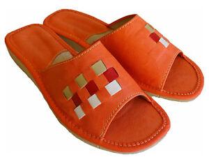on sale e8c6a a5961 Damen Hausschuhe Leder Pantoffeln Pantoletten Lachs/Rosa Gr ...