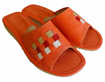 Damen Hausschuhe Pantoffeln Pantoletten rot LEDER  Gr.37-41