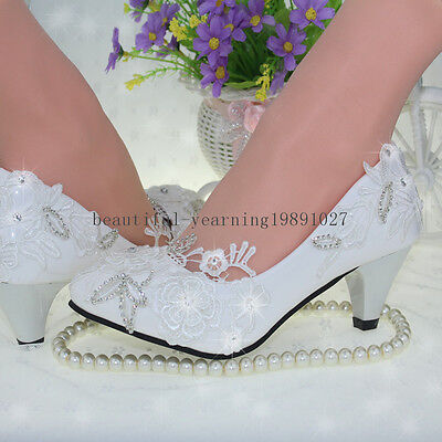 White lace Wedding shoes pearls ankle trap Bridal flats low high heels size 5-12