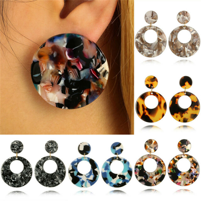 Round Acrylic Dangle Drop Earrings Geometric Ear Studs Earrings Women*Jewelry FF
