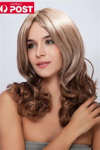 Hot Women Long Blonde Mix Wavy Curly Cosplay Synthetic Heat Resistant Hair Wig