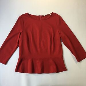 Jane-Lamerton-Red-Frill-Hem-Top-3-4-Sleeve-Size-14
