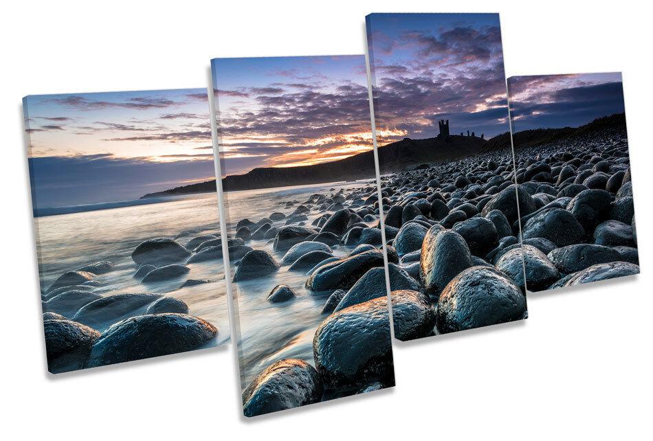 Dunstanburgh Enmarcado Castillo Sunset Multi tela pared arte En Caja Enmarcado Dunstanburgh c3a65a