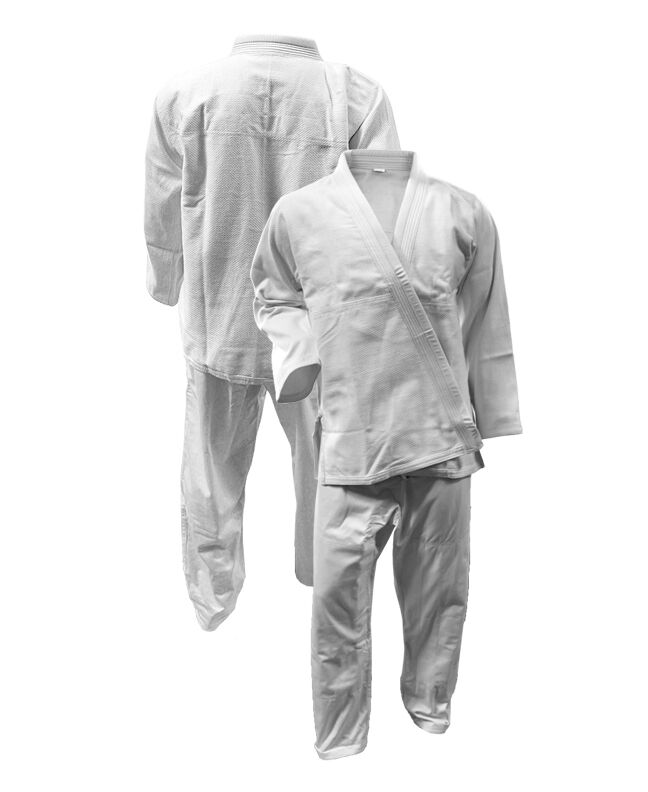 Blank Brazilian Jiu Jitsu Diamond Weave WHITE Gi MENS